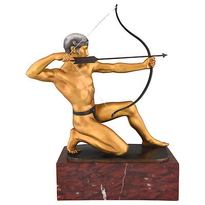 Antique bronze sculpture of a male nude archer Rudolf Kaesbach Germany 1900