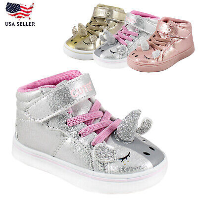 Silver Childrens Shoes (Little Kids Girls Pink Silver Unicorn Glitter High Top Sneakers Strap)