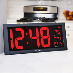 Easy Read Large LED Screen Digital Clock Time Date Temperature, Wall or Stand!