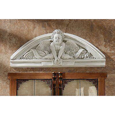 Cherub Baby Angel Wings Wall Hanging Art Sculpture Overdoor Statue of Angels   - Hanging Angel Statue