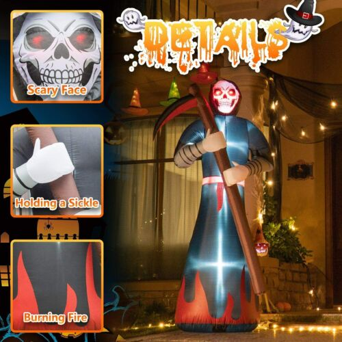 HOT-Rocinha Halloween Inflatables Grim Reaper with Glowing Red Eyes, 8Ft Blow up