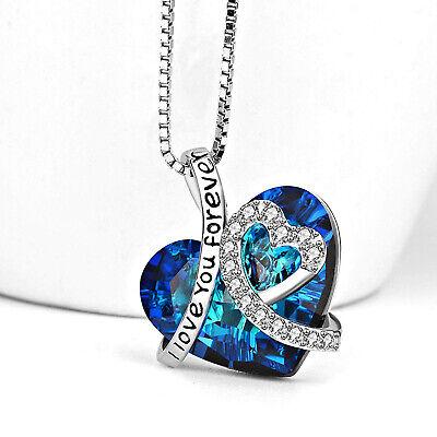 Sterling Silver Blue Topaz Flower Heart Love Pendant Necklace 18