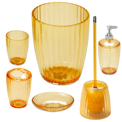 6 Piece Set- Orange Ribbed Acrylic Bath Accessory Bath