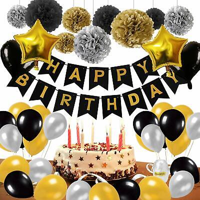 Black And Gold Party Supplies (53pcs Black And Gold Happy Banner Star Heart Balloon Birthday Party Decor)