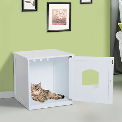 Cat Hidden Litter Box Enclosure Nightstand End Table Kitty Pet House Wood