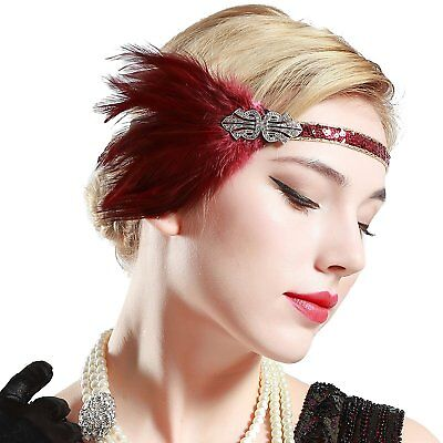 Vintage Silver Beaded 20s Headpiece 1920s Gatsby Flapper Headband Feather - 1920s Headpiece