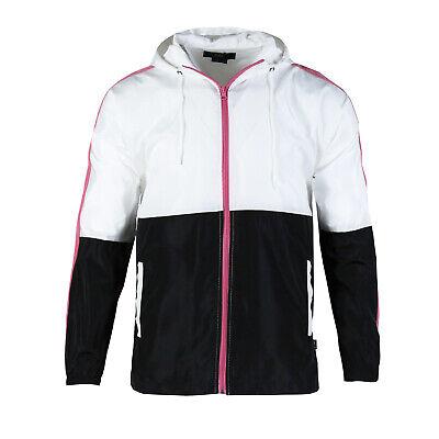 Men's Front Full Zip Light Windbreaker Jacket with Adjustable Hood for -