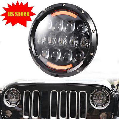 7'' Osram 105W Round LED Headlight Hi-Lo Beam Bulb For Jeep Wrangler JK TJ Black (2006 Jeep Wrangler Led)