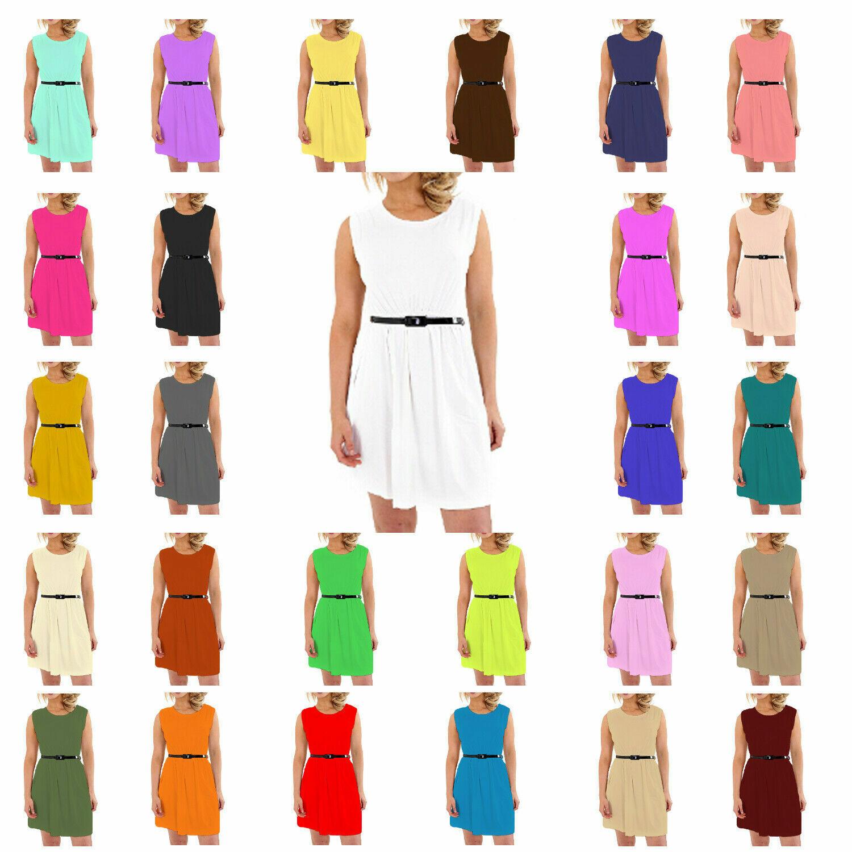 KBD Kids Girls Soft Skater Sleeveless Belted Party Fit Flare Dress Top