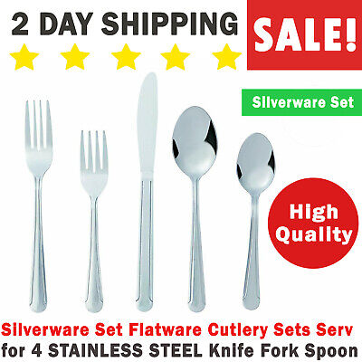 Serving Spoons (Silverware Set Flatware Cutlery Sets Serv for 4 STAINLESS STEEL Knife Fork)