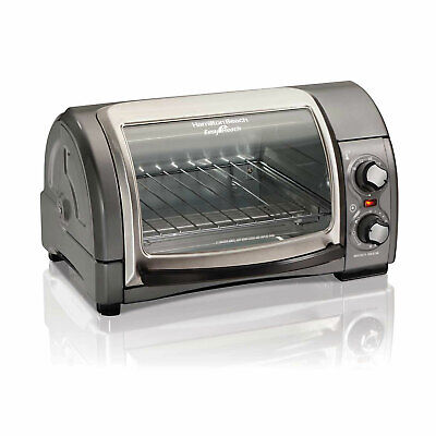 Hamilton Strand Small Easy Reach 4 Slice Toaster Oven with Roll Top Door, Gray