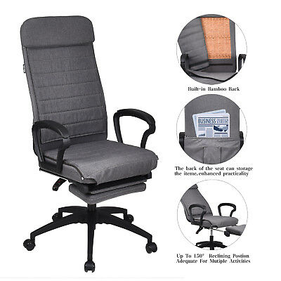 High Back Office Chair Ergonomic Adjustable Recliner Ribbed Seat Computer Desk