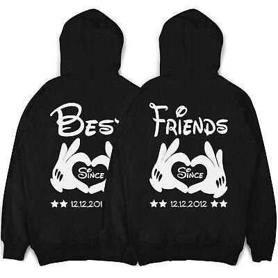 Best Friends Pullover BFF Freundschafts Partner Hoodies mit Wunschdatum im SET - Besten Freund Pullover