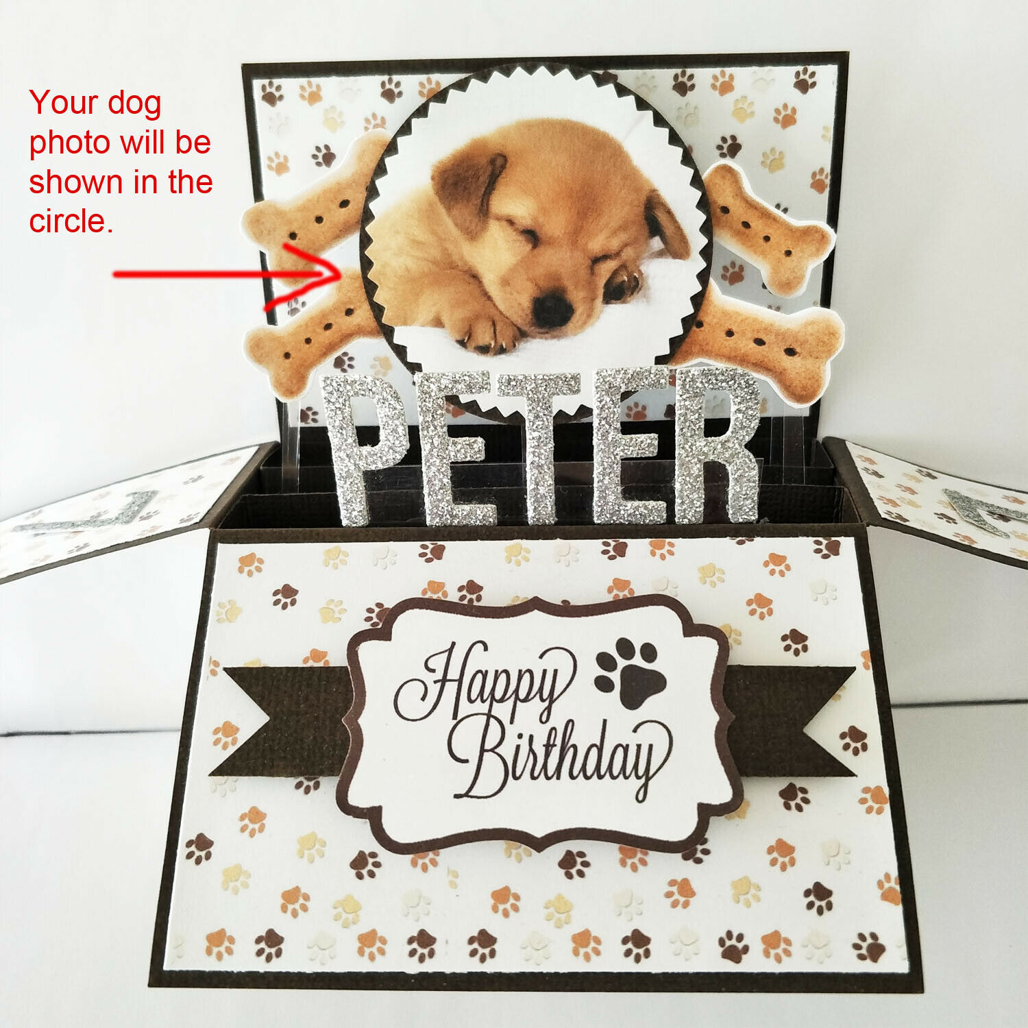 Handmade Name & Age Personalized birthday card, dog birthday card dog puppy card - Your own dog photo