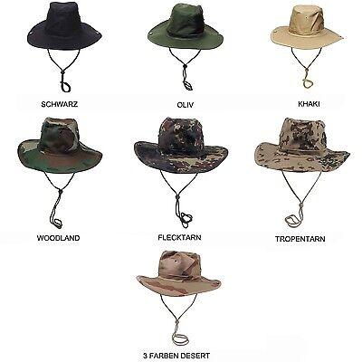 Buschhut Boonie Hat Rangerhut Schlapphut Tarnhut Kinnband Camouflage Safari (Ranger Hut)