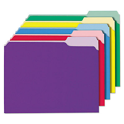 UNIVERSAL Recycled Interior File Folders 1/3 Cut Top Tab Letter Assorted 100/Box