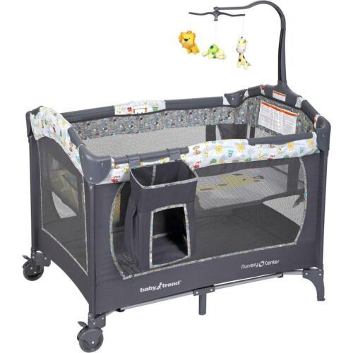Baby Pack Play Playard Playpen Portable Crib Bassinet Infant Jungle Animals Grey