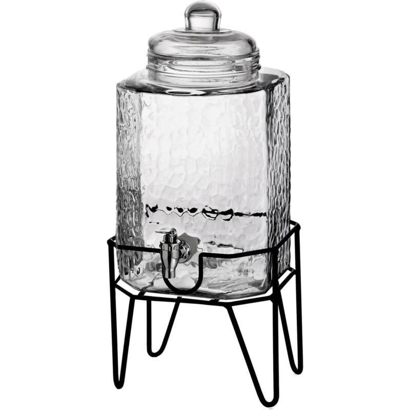 Beverage Dispenser Glass Jar Metal Stand 1.5 Gallon Cold Dri