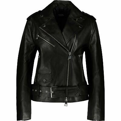 KARL LAGERFELD SheepSkin 100% Real Leather Biker Jacket Sz:uk10 ,rrp:£650,new