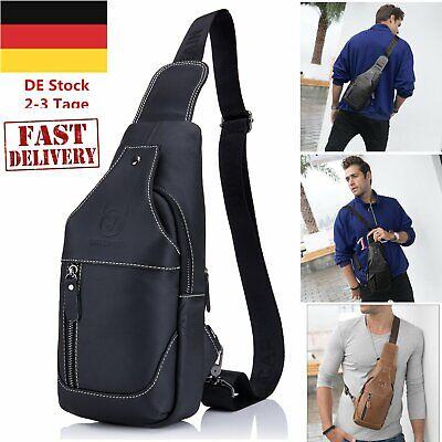 Herren Vintage Echtes Leder Sling Bag Brust Schulter Rucksack für Männer O2O ()
