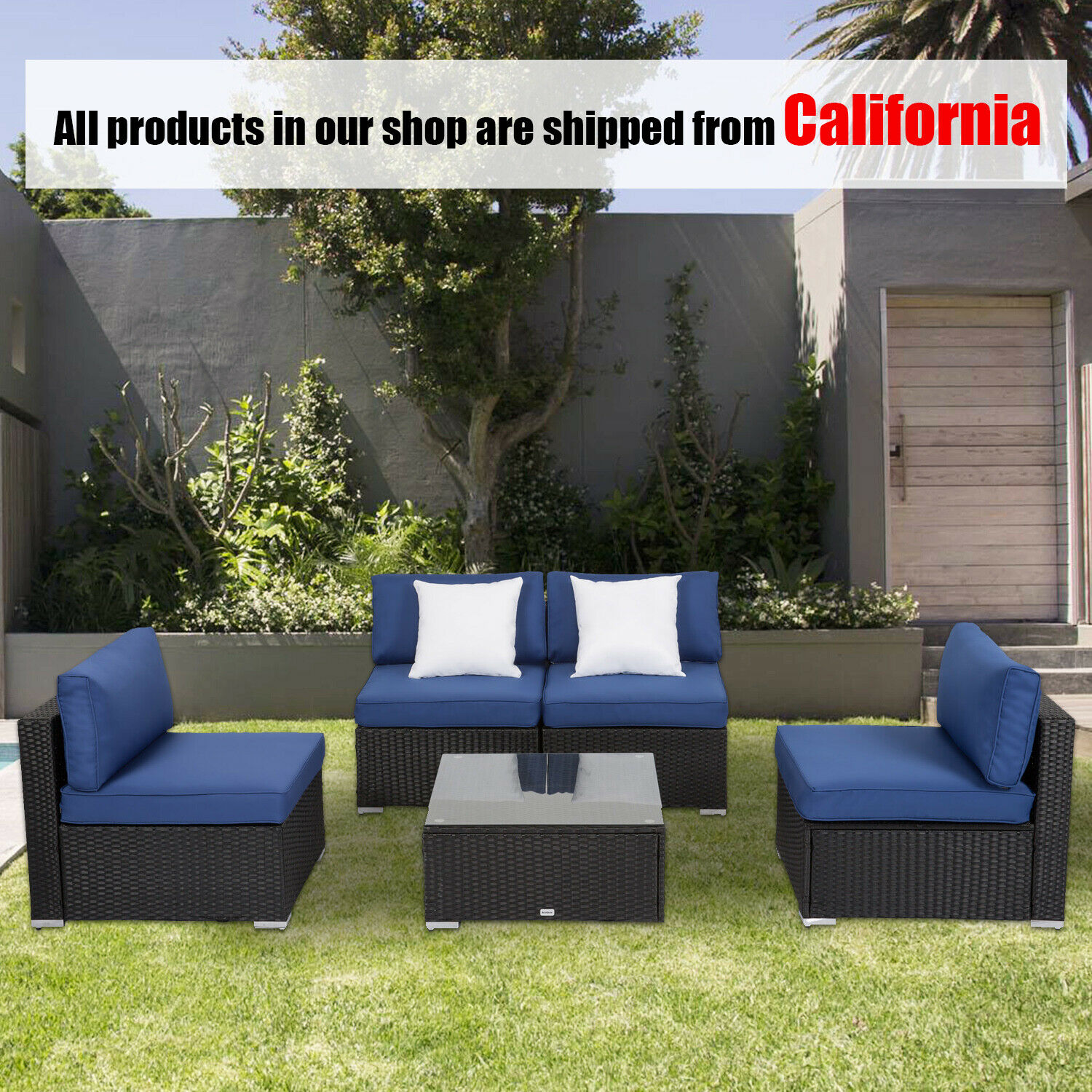Garden Furniture - 5 Pcs Patio Rattan Sofa Set Wicker Garden Furniture Outdoor Sectional Couch