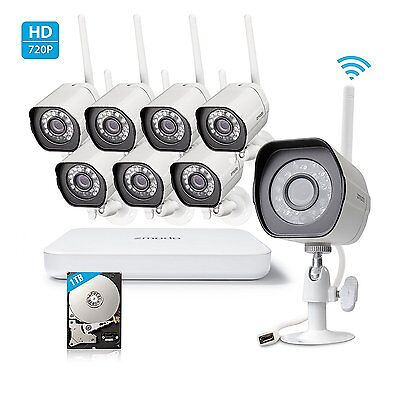 Zmodo 1080P 8CH NVR WiFi 1.0MP Indoor/Outdoor Smart Security Camera System 1TB