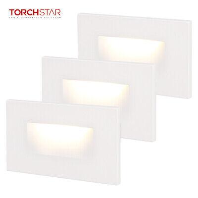 Indoor/Outdoor LED Step Light, ETL Listed, 3000K Warm White, White, Pack of 3 ()