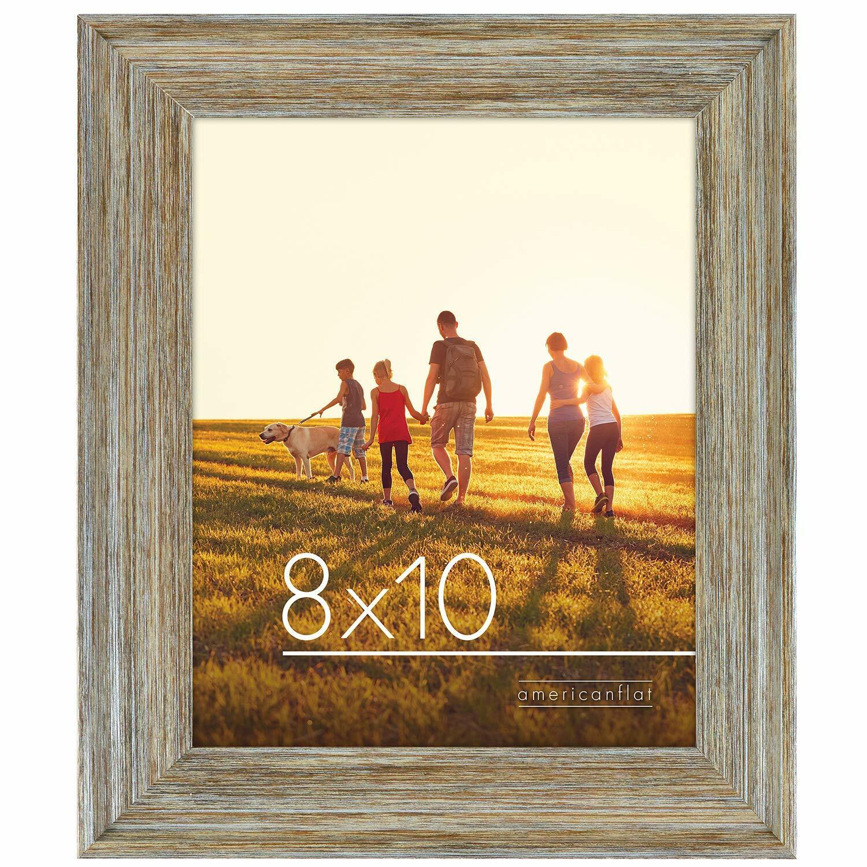 Rustic Decor Picture Frame 8×10 Hanging Hardware Wood Grey Metallic Frames