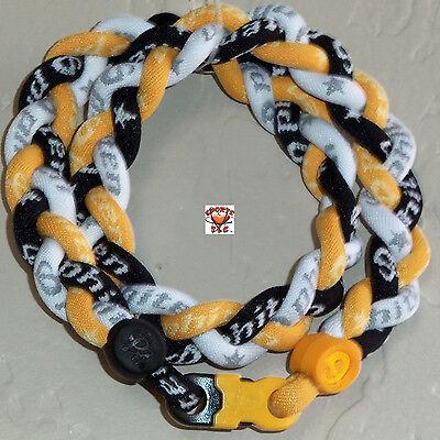 - Phiten Titanium Triple Braid Necklace: Black/Gold/White -Custom New