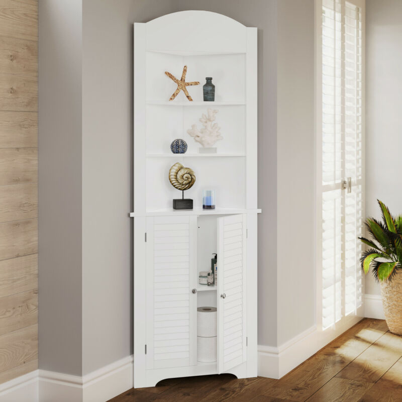 Corner Cabinet Small Bathroom Shelves Storage Organizer Tall Kitchen Hutch White