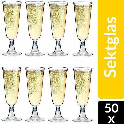 50 Sektgläser Einweg Plastik Sektglas 0,1l Sektkelche Champagner Party Gläser