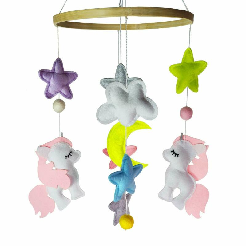 Baby Crib Mobile Unicorn Baby Mobile for Girl Nursery Décor Stroller Shower Toys
