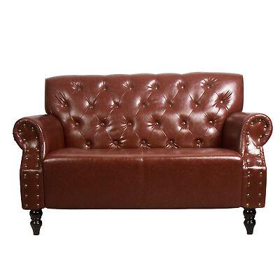 Chesterfield Sessel Sofa Braun 2 Sitzer Antik Wohnzimmer Couch Vintage Retro