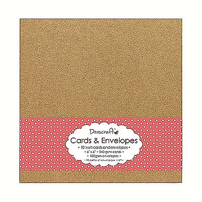"""10 Dovecraft Natural Brown 6"""" x 6"""" Square KRAFT Cards and Envelopes 240gsm"""