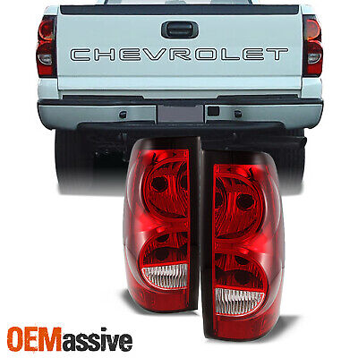 Fit 03-06 Chevy Silverado Pickup Red Clear Tail Lights Replacement