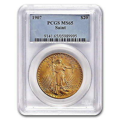 1907 $20 ST. GAUDENS GOLD DOUBLE EAGLE COIN   MS 65 PCGS   SKU 8728