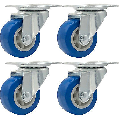Lot Of 4 1.5 Low Profile Casters Wheels Soft Rubber Swivel Caster Blue