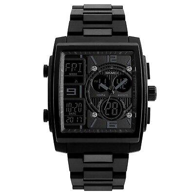 Black Rubber Watch - Digital Sports Watch Rectangle Military Rubber Black Big Face Men's SKMEI 1274