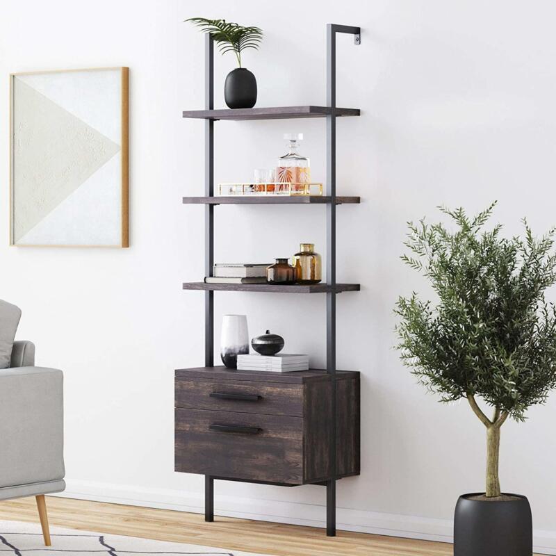 Industrial Bookshelf w/ Wood Drawers Metal Frame 3-Shelf Ladder Shelf Wall Mount