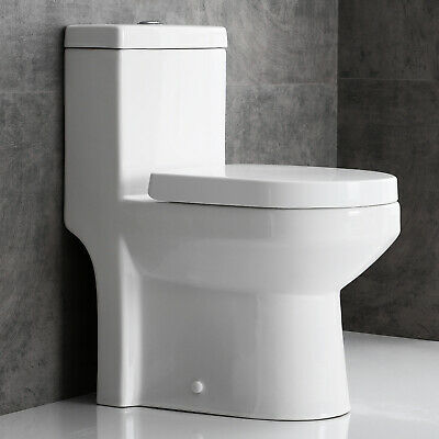 Horow One Piece Toilet Compact Bathroom Mini Commode Water Closet Dual (Water Closet)
