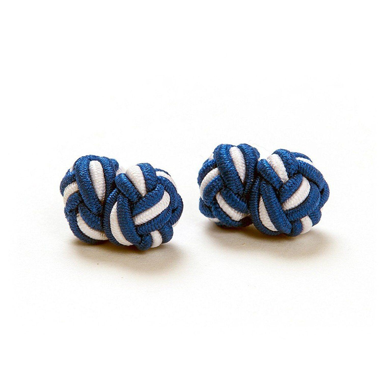 1 Paar Seidenknoten /  Manschettenknöpfe, blau-weiß, London Gentleman Bayern