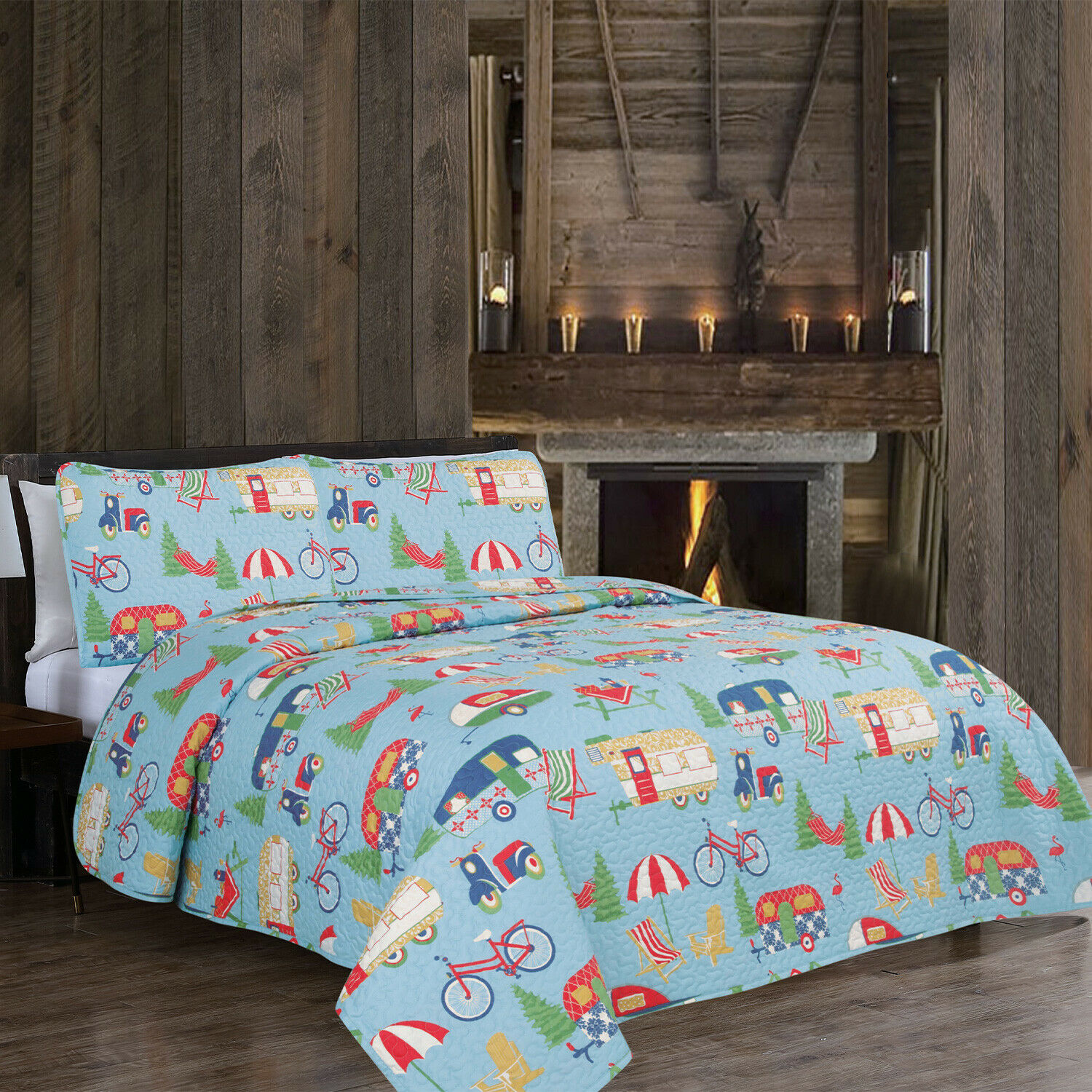 Twin, Full/Queen or King RV Camper Quilt Bedding Set Trees Bikes, Blue Green Red Bedding