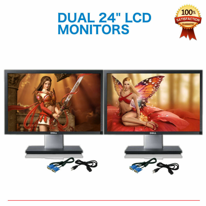 "Matching DUAL DELL Ultrasharp 24"" Widescreen LCD Monitors w/ DUAL LCD Stand"