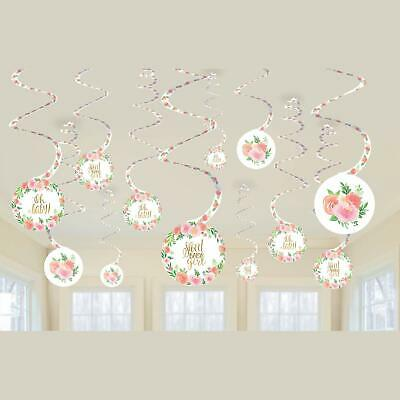 SWEET BABY GIRL SPIRAL HANGING Party Shower Room Decorations Flowers PINK GOLD](Baby Girl Decorations)