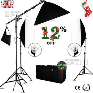 2850W Softbox Continuous Lighting Kit Photo Studio Soft box Boom arm Earthed UK - <span itemprop=availableAtOrFrom>Warsaw, Polska</span> - Zwroty są przyjmowane - Warsaw, Polska