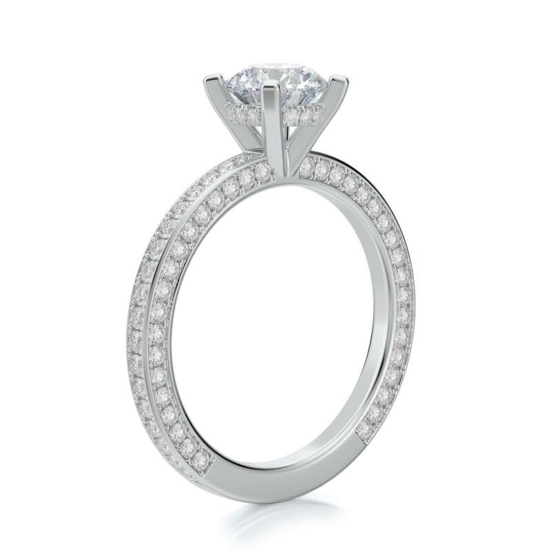 Real Diamond Engagement Hidden Halo Ring F/si1 2.25 Ct Round 14k White Gold
