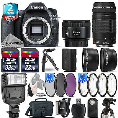 Canon EOS 80D DSLR Camera + 50mm 1.8 STM + 75-300 III + 2yr Warranty - 64GB Kit