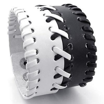 MENDINO Wide Men's Unisex Alloy Leather Bracelet Braided Bangle Punk White Black