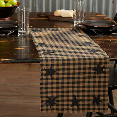 "Country Black Star Table Runner 36"" Appliqued Primitive Farmhouse Rustic Cotton"