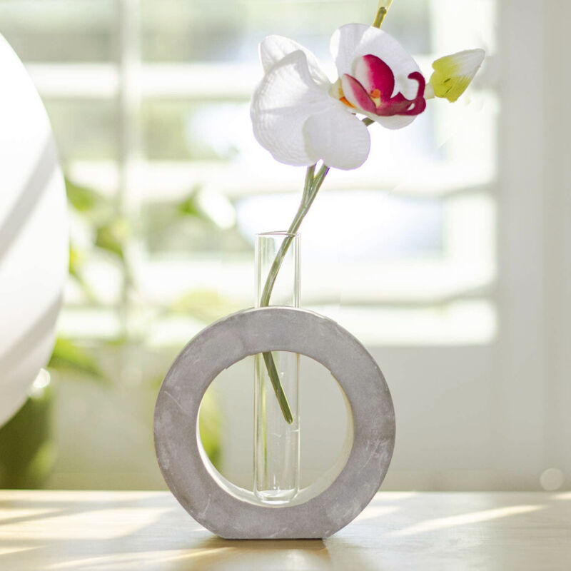 Frank Lloyd Wright Contemporary Polished Concrete Small Circle Floral Bud Vase